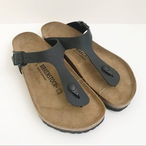 Birkenstock Gizeh Black Thong Cork Sandals Size 9